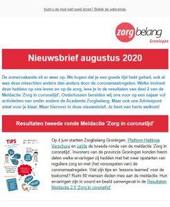 Afbeelding van een deel van de nieuwsbrief van augustus 2020Nieuwsbrief Augustus