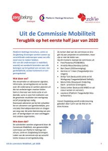 Voorzijde Nieuwsbrief commissie Mobiliteit