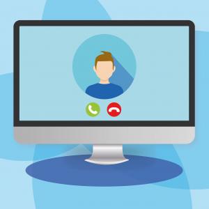 Illustratie van een beeldscherm met een persoon in beeld waarmee via de computer wordt gebeld