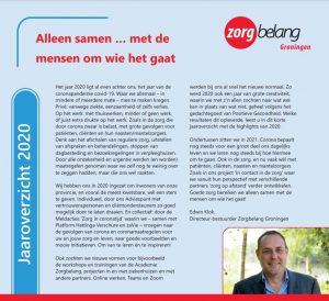 Eerste pagina van het jaaroverzicht 2020 met een foto en inleidende tekst van Edwin Klok en het logo van Zorgbelang